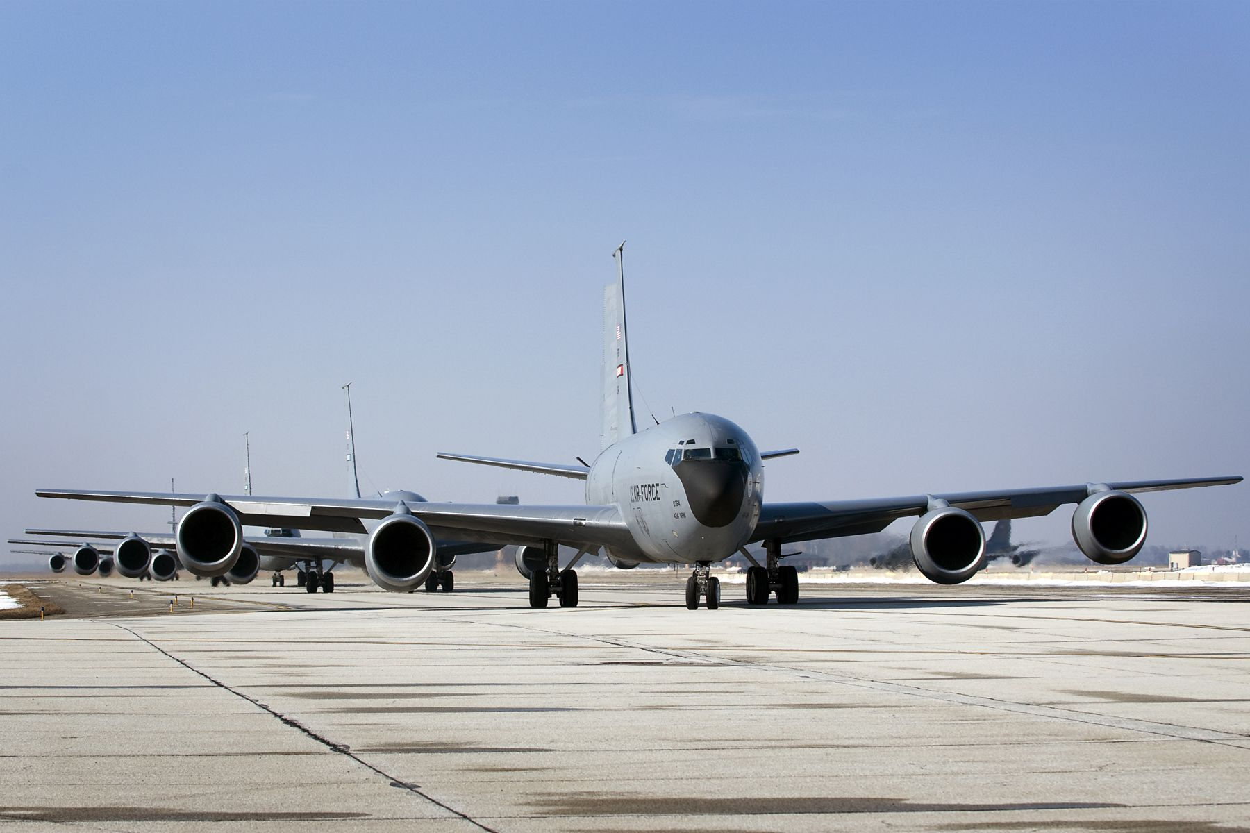 Five 434th Air Refueling Wing KC-135R Stratotankers head down a taxiway at Grissom Air Reserve Base, Ind., March 9, 2014. During the 434th ARW's March unit training assembly, the unit held a strategic warfare exercise, executing various response, mobility, and command and control procedures in response to a simulated global threat, which culminated in 10 Stratotankers taking off in two five-ship formations. (U.S. Air Force photo/Tech. Sgt. Mark R. W. Orders-Woempner)