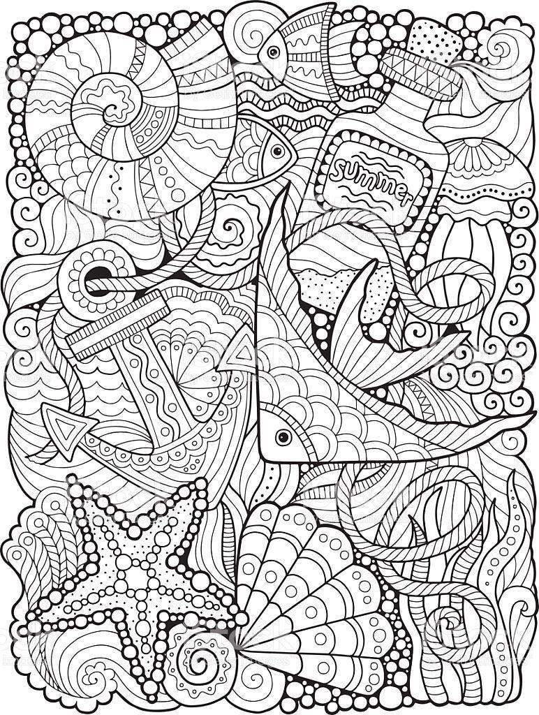 Coloring For Adults Undersea World Stock Vektor Art Und Mehr Bilder