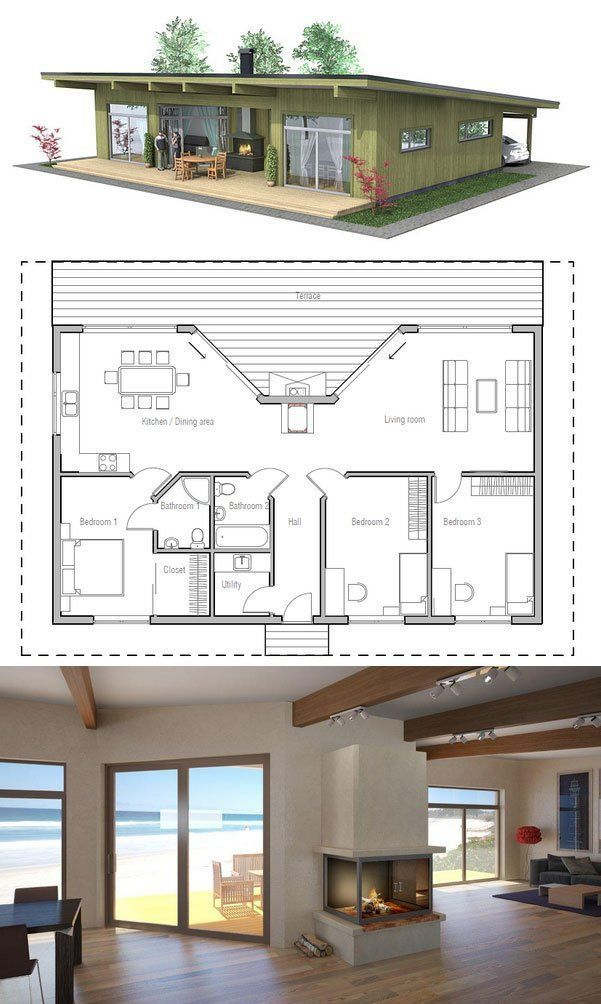 Off The Grid Floor Plans Part - 46: Small House Plan With Three Bedrooms. Love The Porch Fireplace Concept. I  Really Like