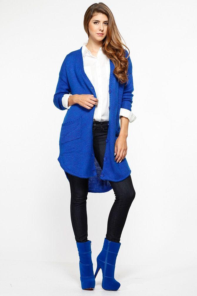 75438bacbd20 Cozy Overisized Knit Royal Blue Cardigan   Cicihot Clothing