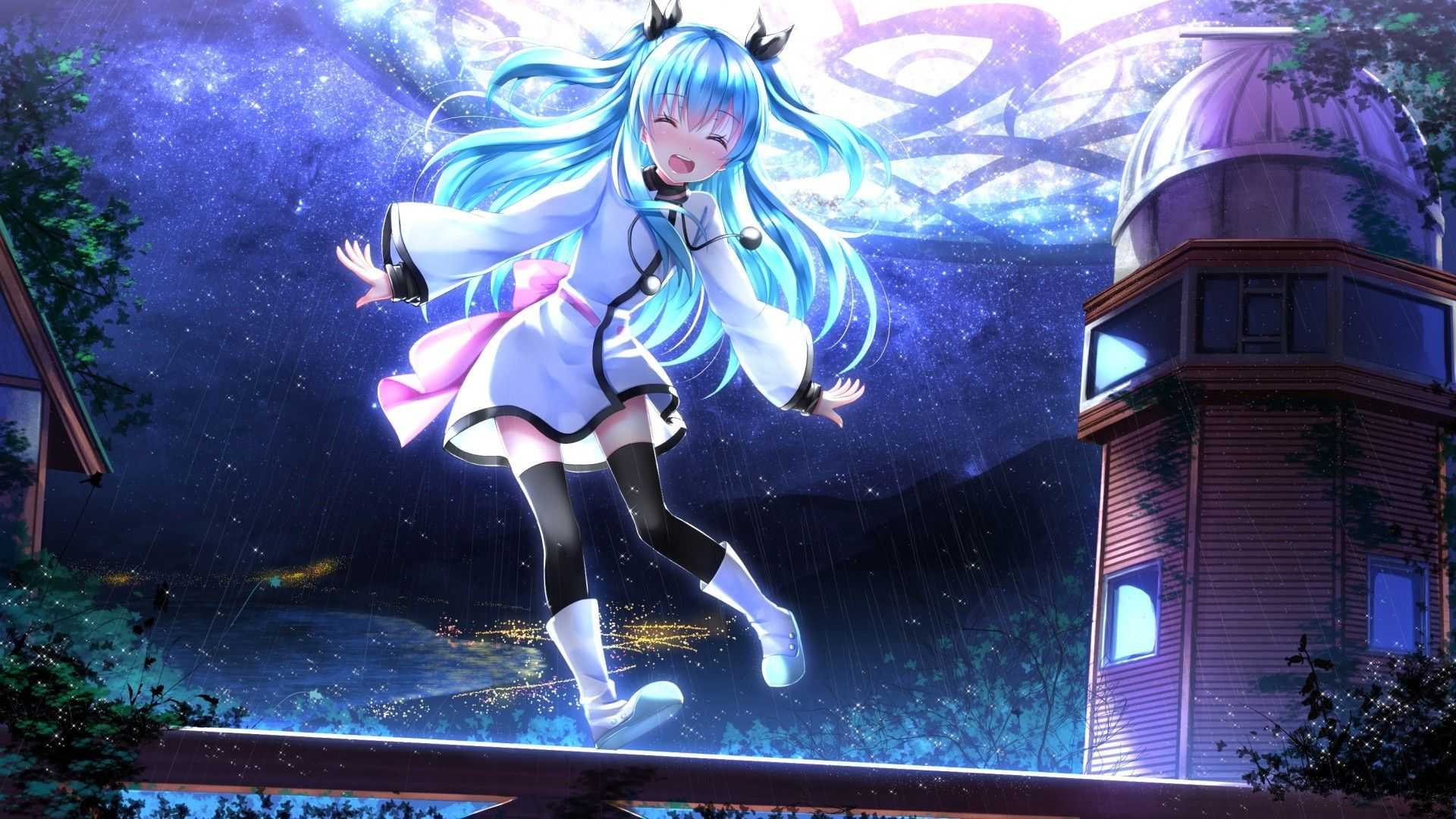 long hair, aqua hair, blue hair, anime, anime girls