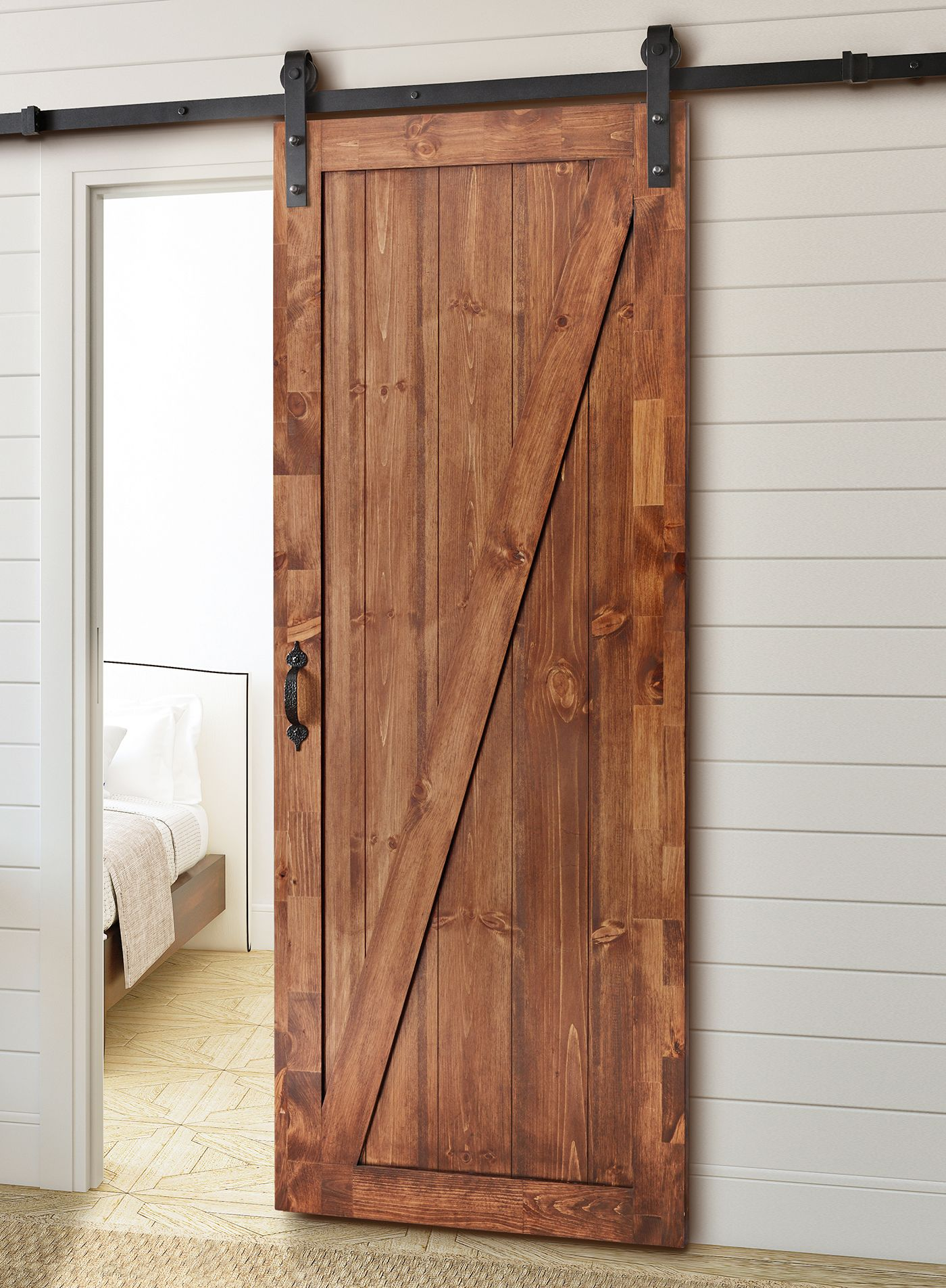 Perfect For Any Opening This Rustic Sliding Barn Door Kit Provides An Interesting And Elegant Tran Barn Door Kit Sliding Barn Door Hardware Barn Doors Sliding