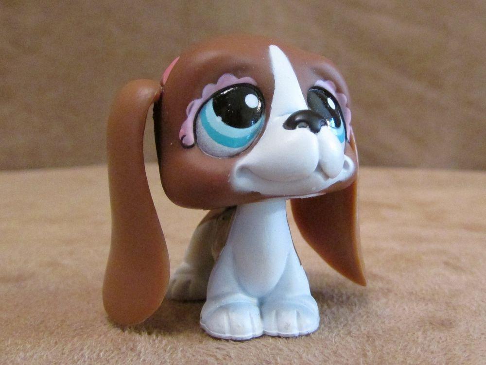 1205 Basset Hound Dog Brown Long Ears Littlest Pet Shop Hasbro Pink