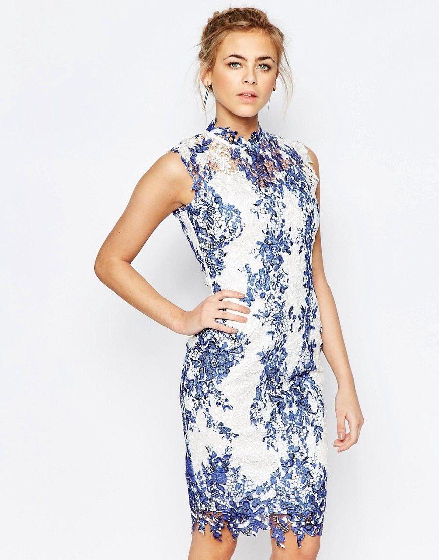 5c6d216710 Paper+Dolls+High+Neck+Lace+Pencil+Dress