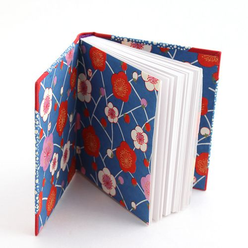 Beautiful Plum Blossom Chiyogami endpapers! | handmade book by Ruth Bleakley