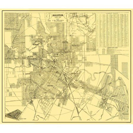 Free Shipping Buy Old City Map Houston Texas Street Guide 1913