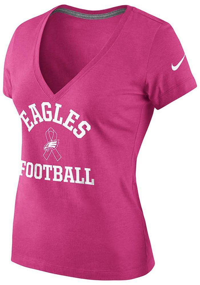 df3b9d920cb Philadelphia Eagles T-Shirt- Women s Nike Pink Breast Cancer Awareness  V-Neck http
