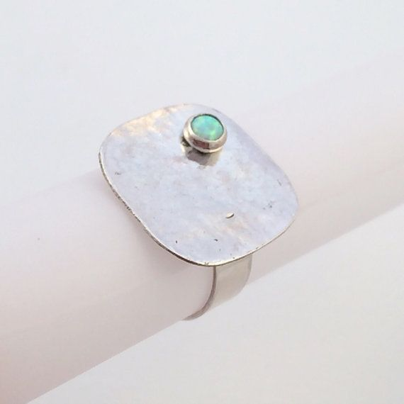 White Opal and Silver Statement Ring, Size 7