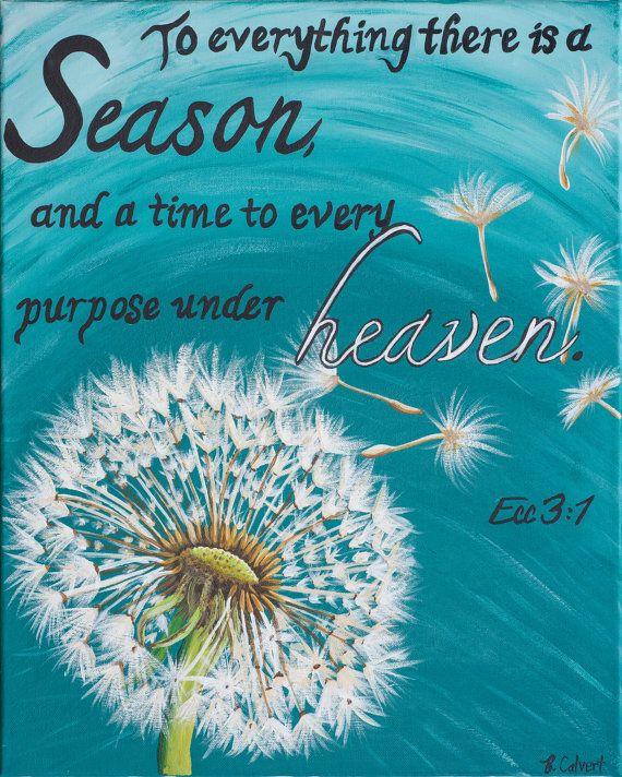 Religious Flat Acrylic: Christian Art Print, Dandelion Painting, Seasons Of Life