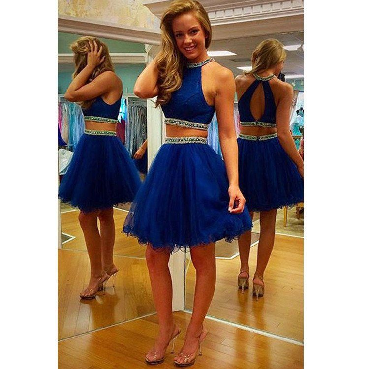 Short Prom Dress Top And Skirt Separate In Two Pieces Pst0555