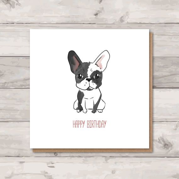 Adorable French Bulldog Birthday Card Blank Inside For Your