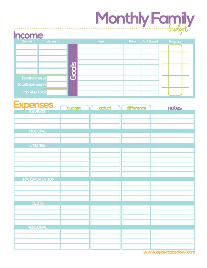 free family budget printable printables pinterest budgeting