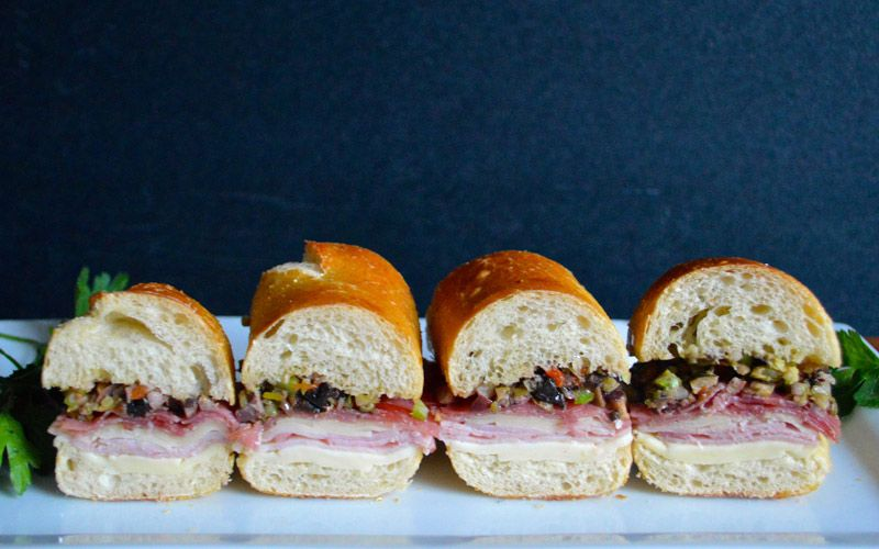 "Sandwich #231—""Diffuse Anger with Laughter"" Snack-Sized Muffuletta » 300 Sandwiches"