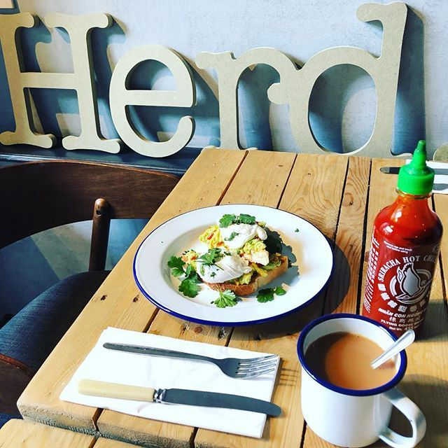 Smashed avocado, perfectly poached eggs, toast, fresh coriander and Sriracha hot sauce. Part of the £8 all in lunch menu.