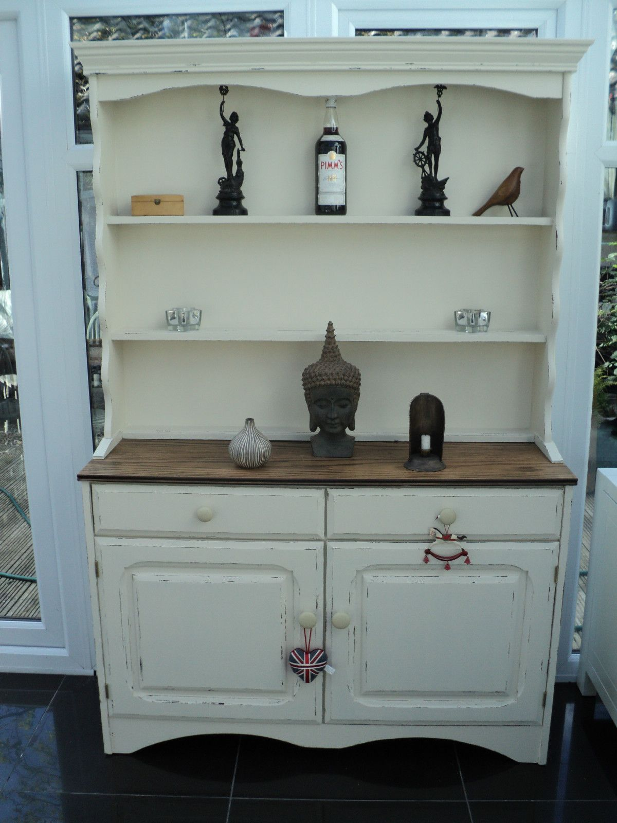 Painted Dresser With Plate Shelves Lightly Distressed Sabby Chic