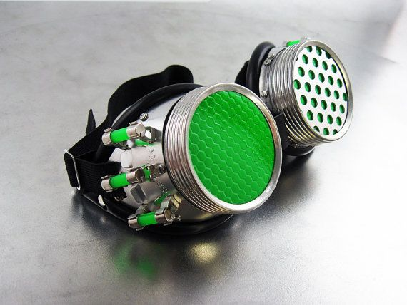 Capacitor Goggles in Green by section9gear on Etsy