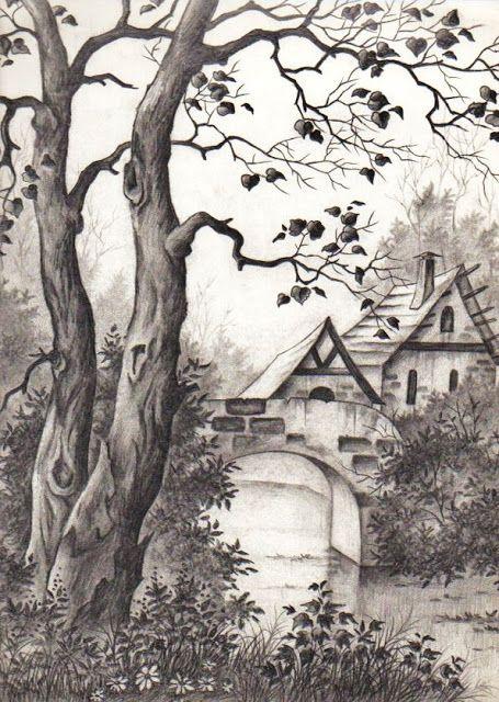 DIBUJO A LÁPIZ: Puente y bosque. GLADYS PÉREZ