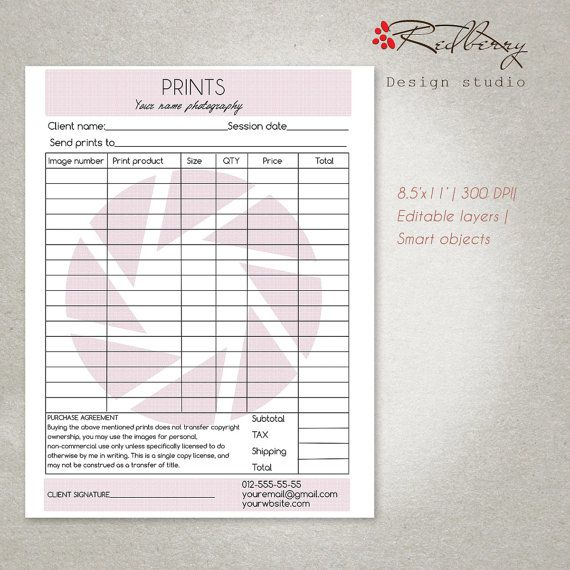 Invoice Template Photography Invoice By Redberrydesignstudio