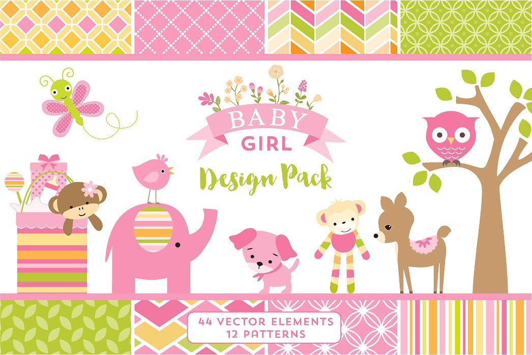 545da630a786 Baby Girl Design Pack by Cocoa Mint on  creativemarket