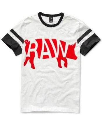 04b85da469f G-Star Raw Mens Chinese New Year Velvet Flocked Graphic T-Shirt, Created  for Macy's - White S