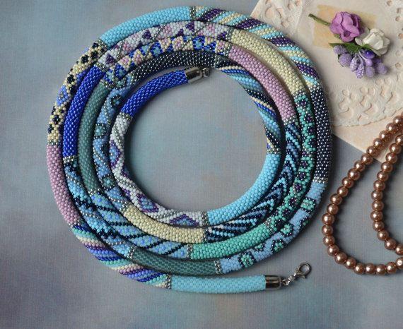 Etwas Blaues blau Lasso Halskette Samen Perle häkeln Halskette ...