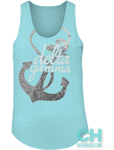 dd5b10320b5 Delta Gamma Foil Anchor Tank // College Hill Custom Threads sorority and fraternity  greek apparel and products! | @ch_threads | #bidday #DG