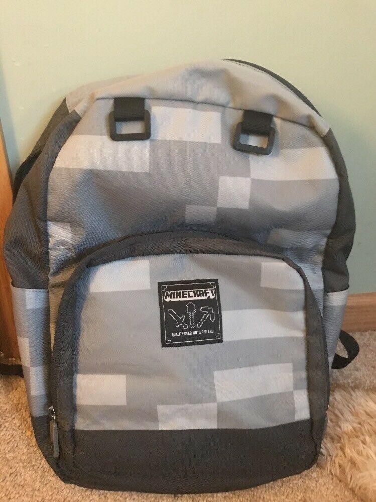 NEW Mojang Block MINECRAFT Miner Grey Stone  Bag School Laptop Backpack Travel