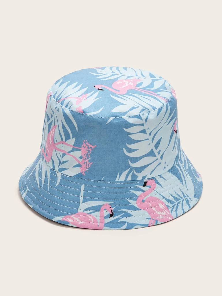 Bucket Hat Cotton Blend Pink Flamingos Pattern on Blue