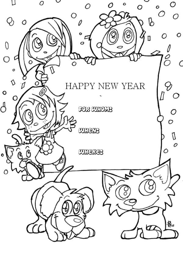 Kids Happy New Year Greeting Cards Coloring Page | New Year Coloring ...