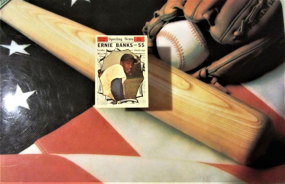 1961 ernie banks topps baseball card sporting news all