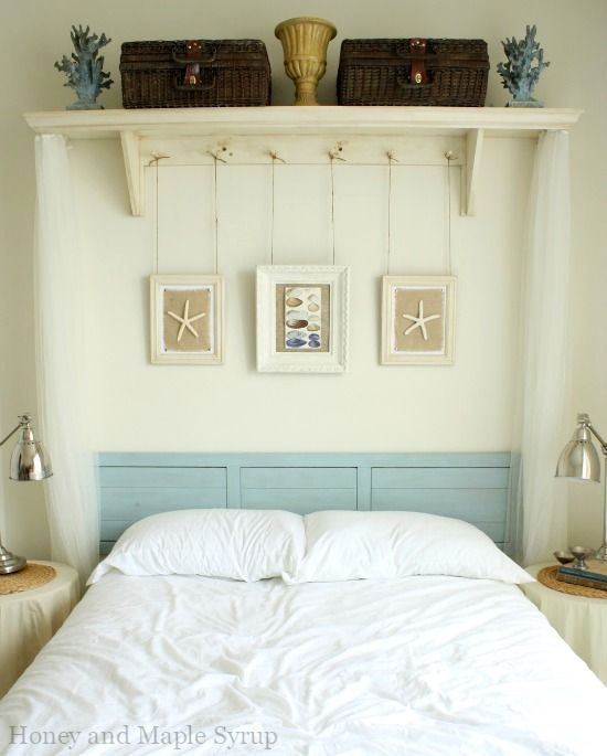Awesome above the bed beach themed decor ideas shelf - Bedroom wall shelves decorating ideas ...