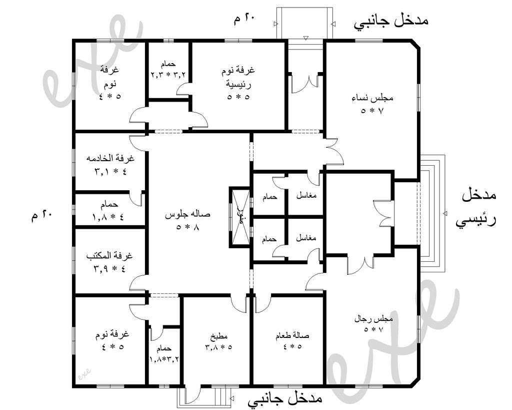 نتيجة بحث الصور عن مخطط فيلا دور واحد My House Plans House Layout Plans House Plans