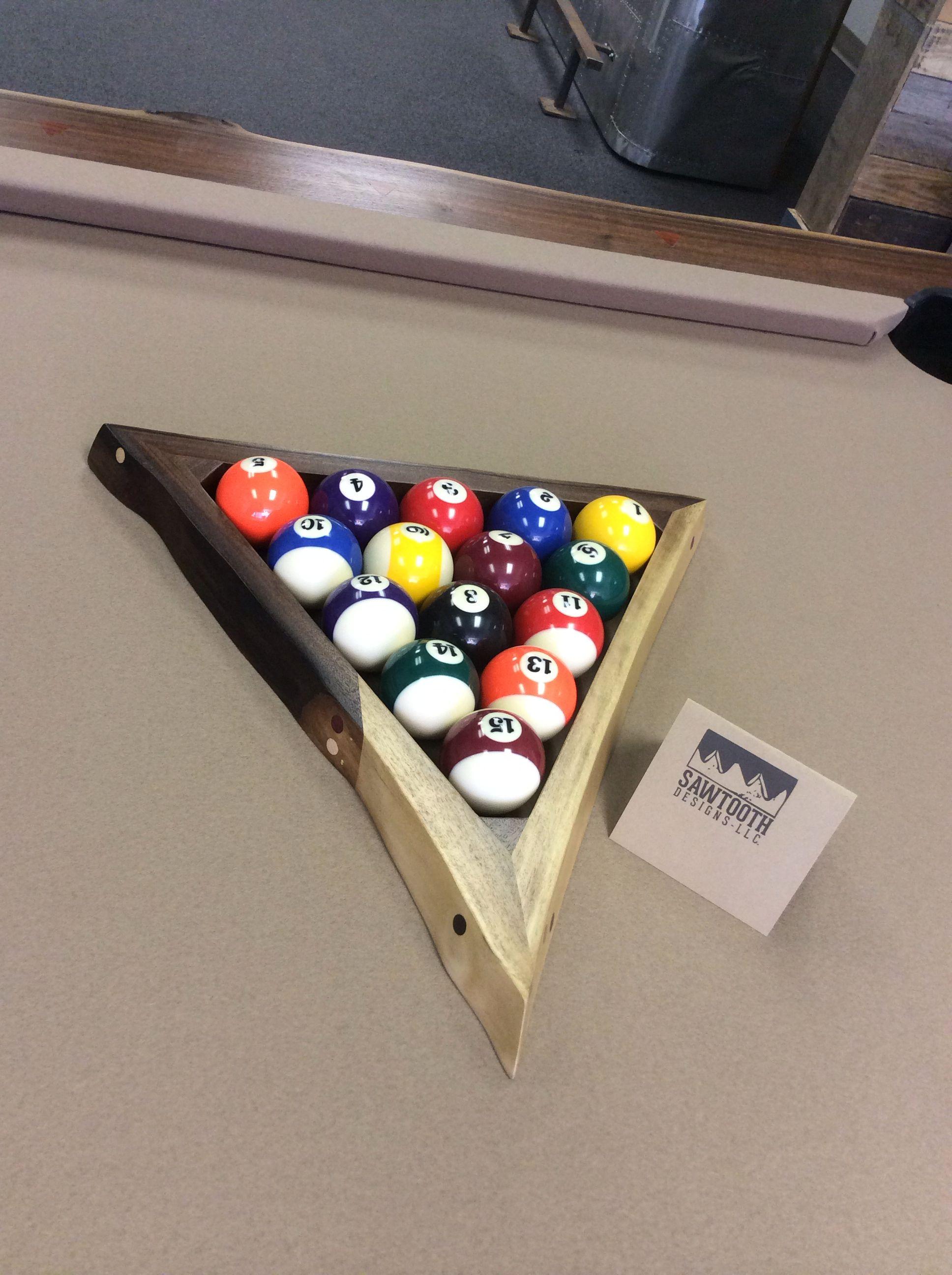 Live Edge Wood Ball Rack For Pool Table Custom Made By