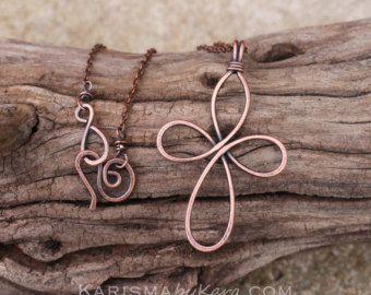 Grosse Kreuz Kette. Kupferdraht. Oxidiert. Celtic. Jewelry Wire ...