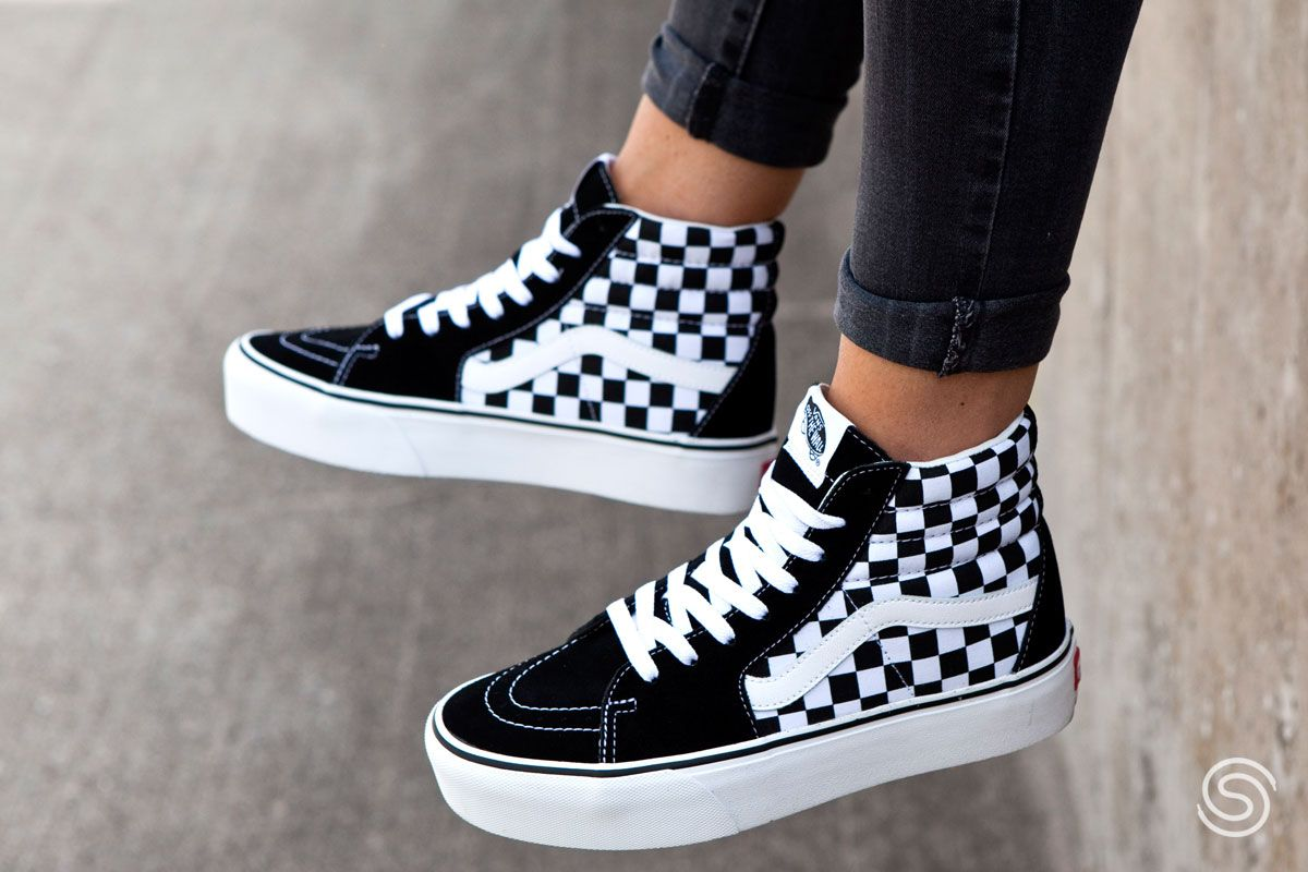Vans SK8-HI Platform 2.0 Checkerboard Dames in 2020 ...