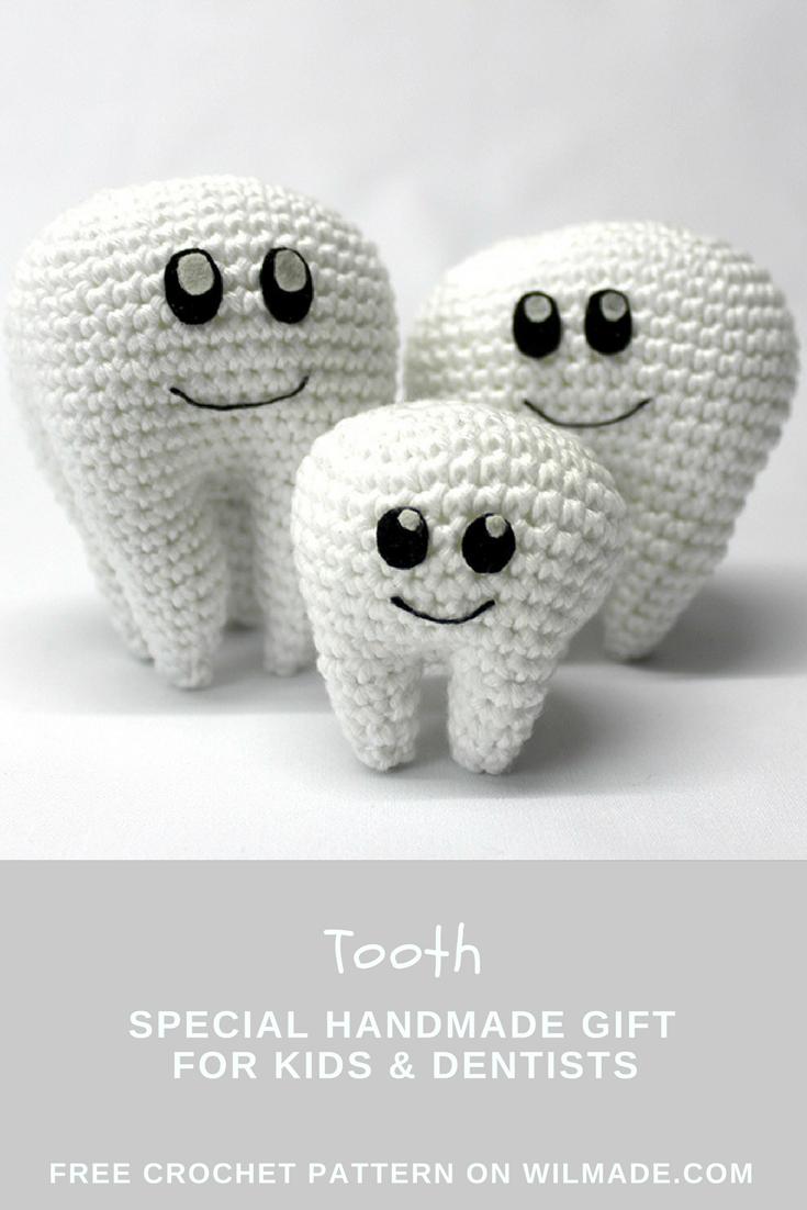 Tooth crochet pattern - free molar crochet pattern | Patrones ...
