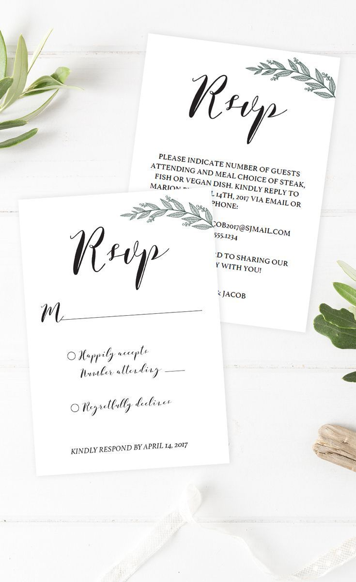 beautiful greenery wedding invitation inserts these diy green