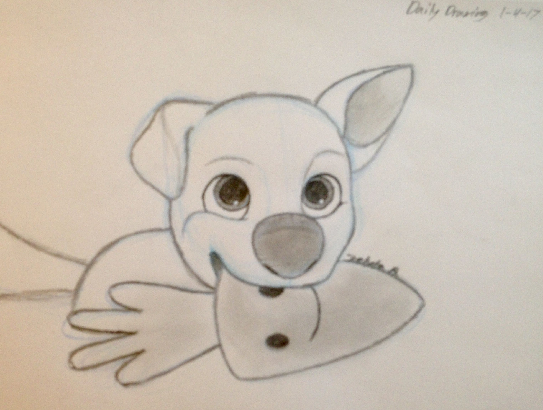 Daily Drawing Puppy Bolt Kelyta B Cute Drawings Princess