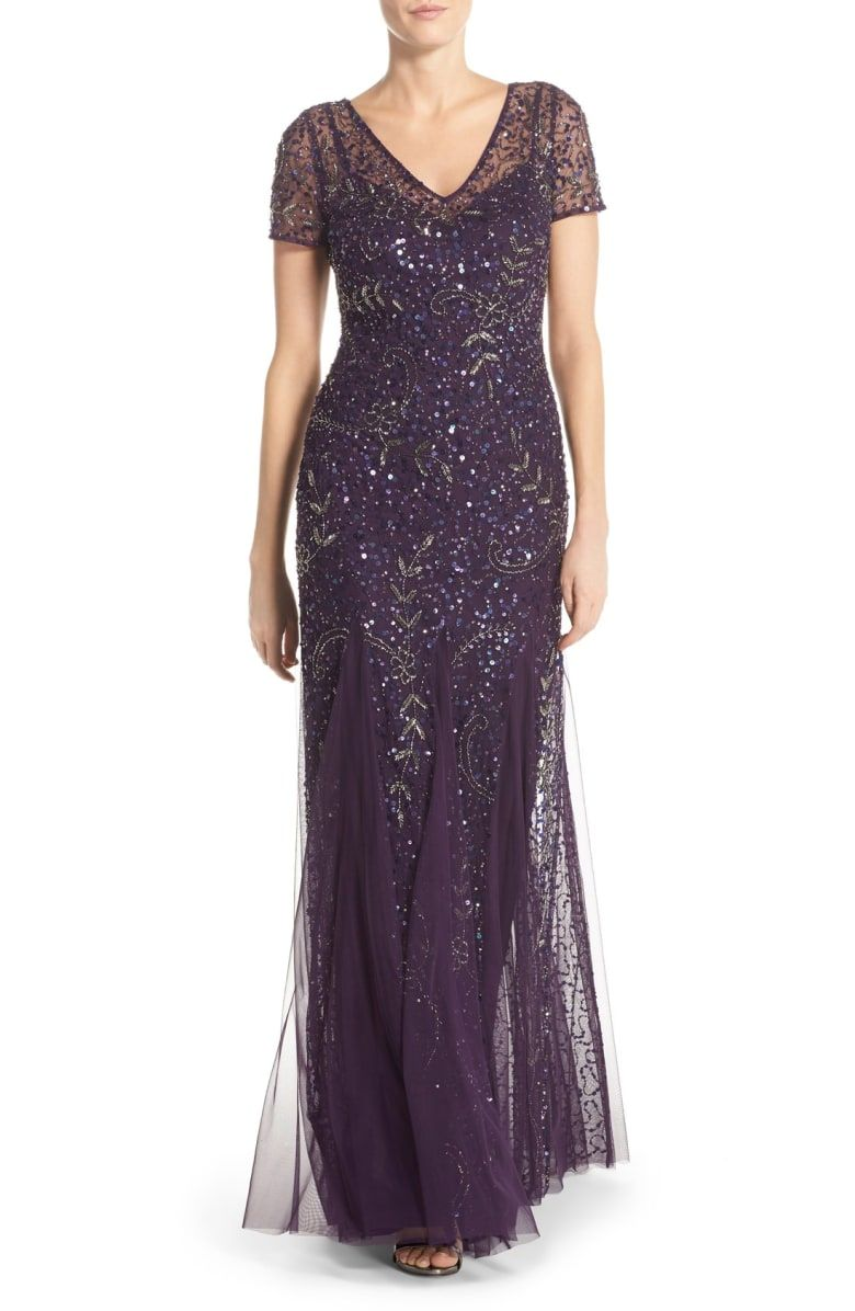 Free shipping and returns on Adrianna Papell Beaded Short Sleeve A-Line Gown  at Nordstrom.com. Sequin-dotted mesh with swirling sprigs of silvery  beading ... d74db0e8810c