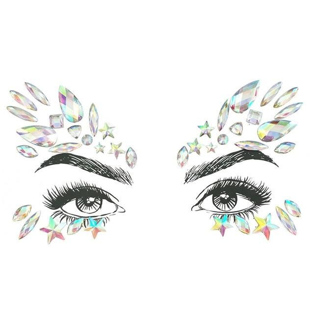 Strass Juwelen selbstklebende Kristall Augenbrauen Make Up Gesicht Aufkleber – 28 / Multi