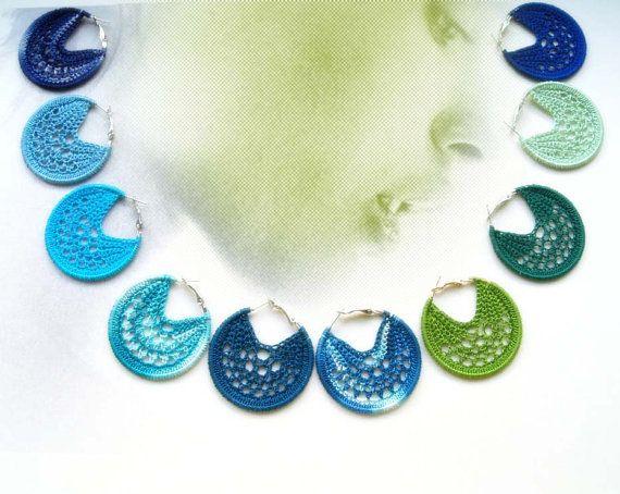 Crocheted Hoops earrings 50 mm  Spring/Summer by Hope3raJewels, €15.00