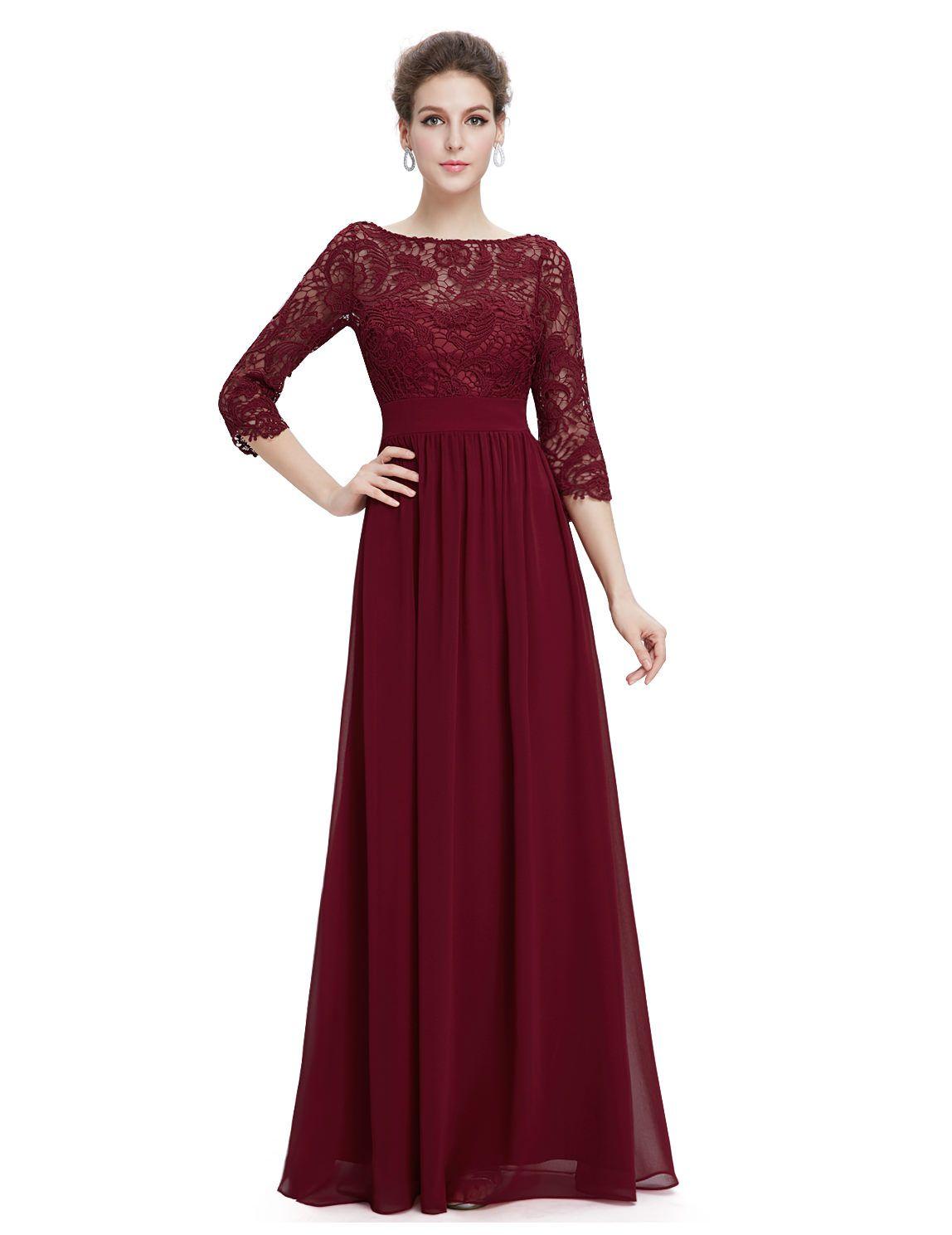 Langes Abendkleid mit eleganter Spitze Bordeaux Rot  Elegante