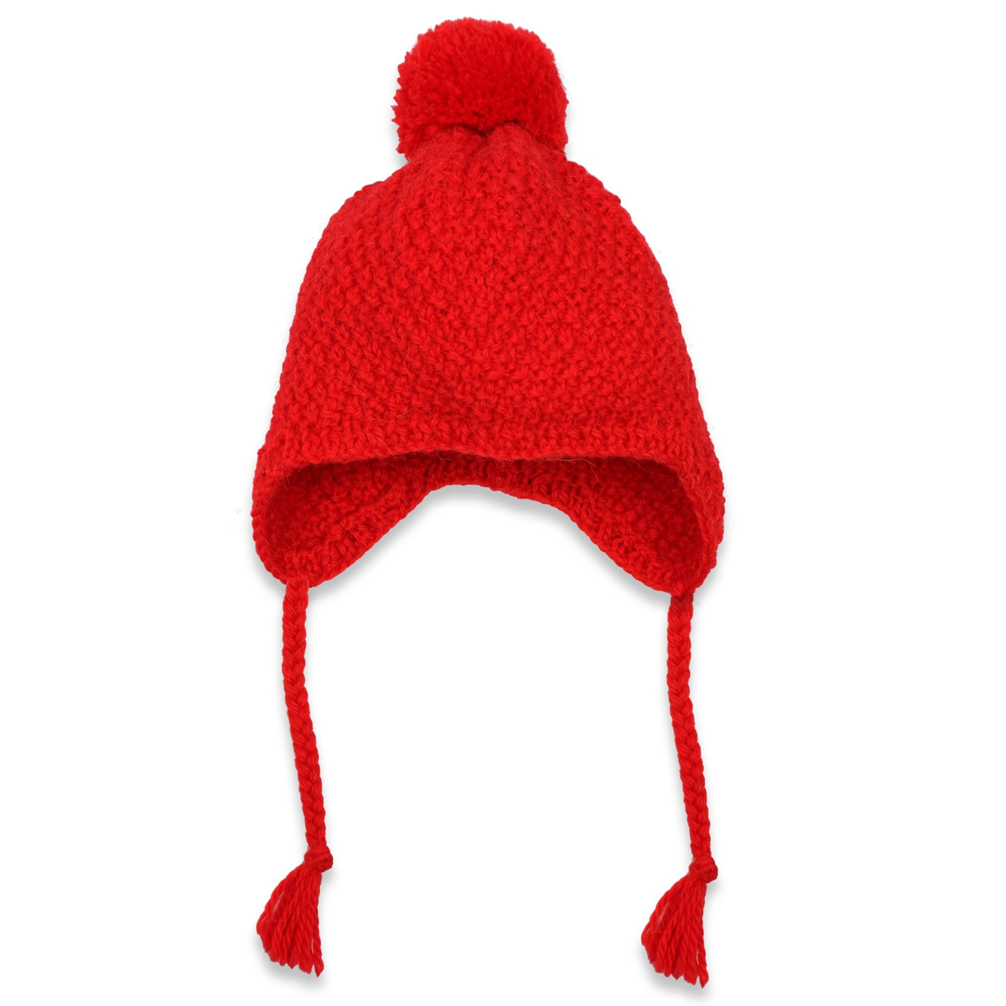 6ed4f40c8f5 Red peruvian hat knitted in moss stitch made from wool and alpaca. For baby  girls. Covers the ears and neck. Best worn with the