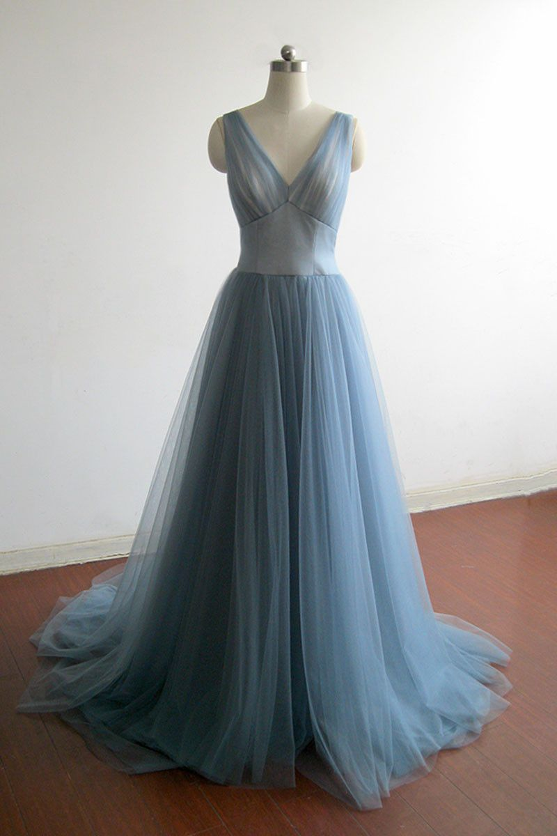 Elegant blue tulle v neck high waist long senior prom dress halter