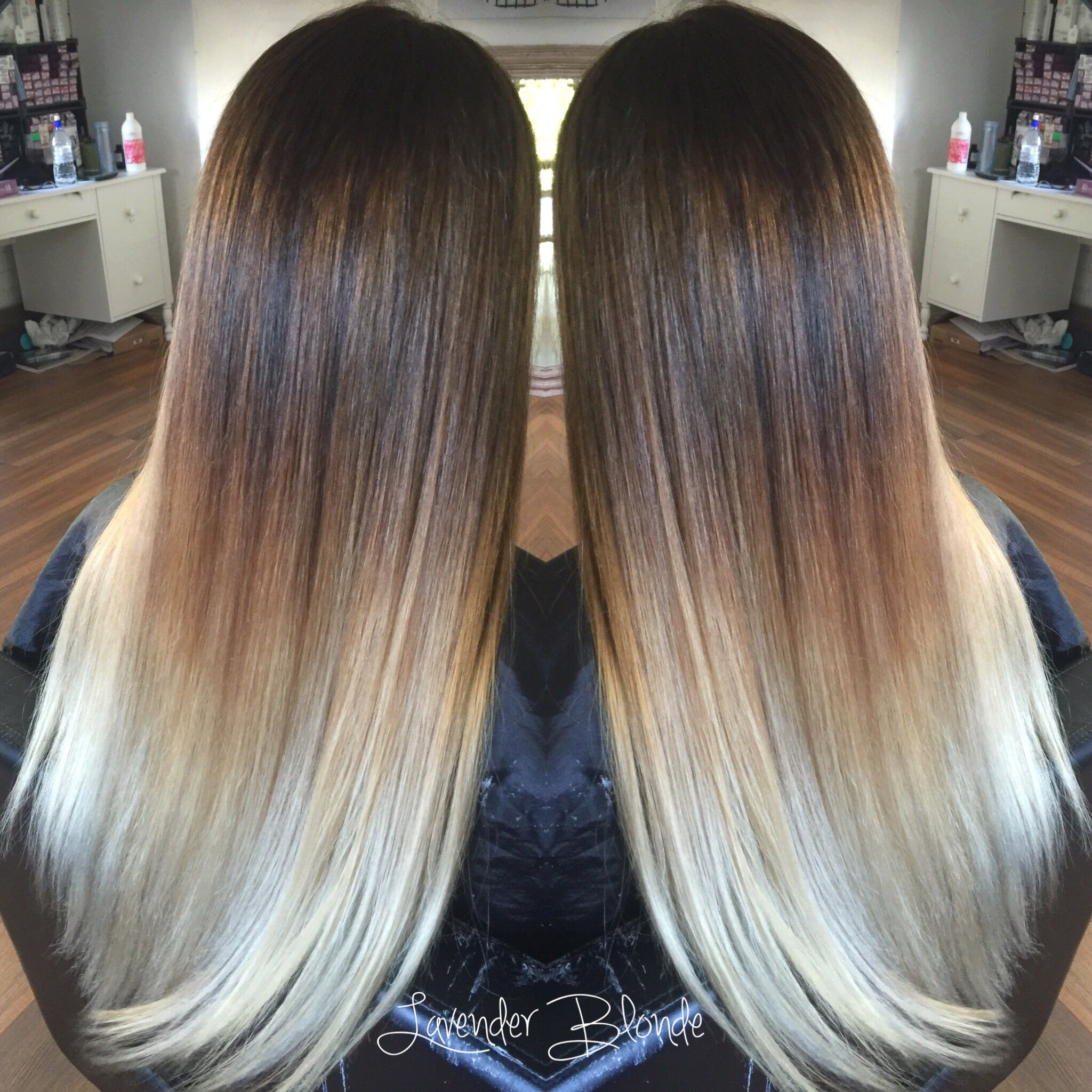 Long chocolate mahogany ombre to platinum blonde ends. Hair crush ...