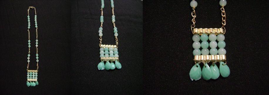 d6b7c7292b97 Collar en fantasía fina con piedras de cristal color verde menta ...