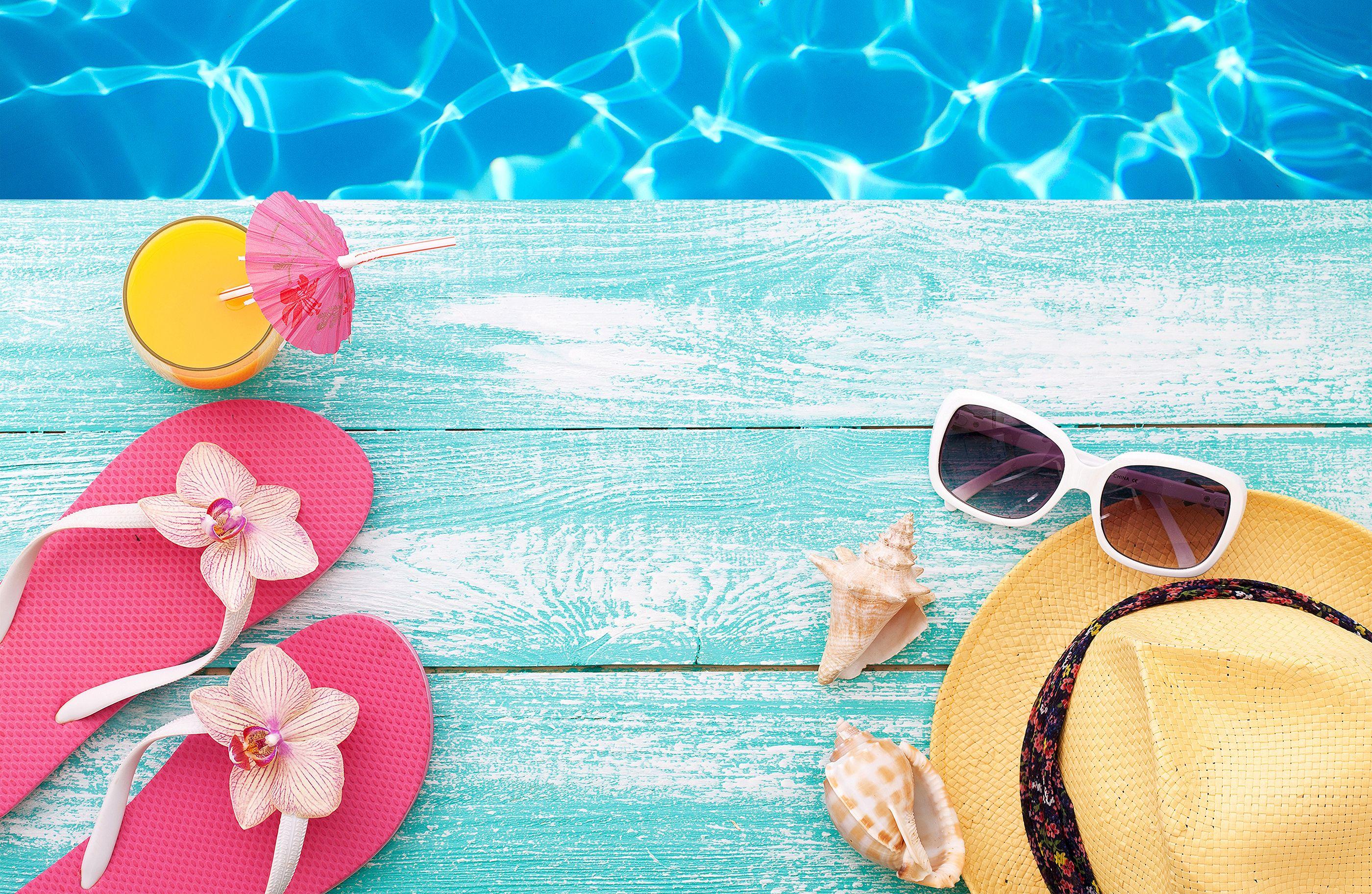 Free Download Vacation Summer Beach Flip Flops Hat