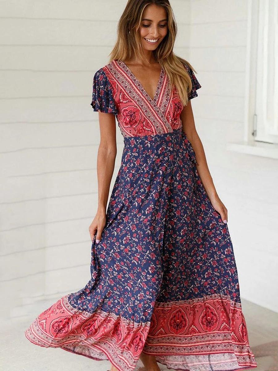 Jastie Vintage Floral Print Maxi Dress Summer Short Sleeve V Neck Wra 8 Banana Bohemian Print Dress Floral Print Maxi Dress Short Sleeve Dresses [ 1200 x 900 Pixel ]