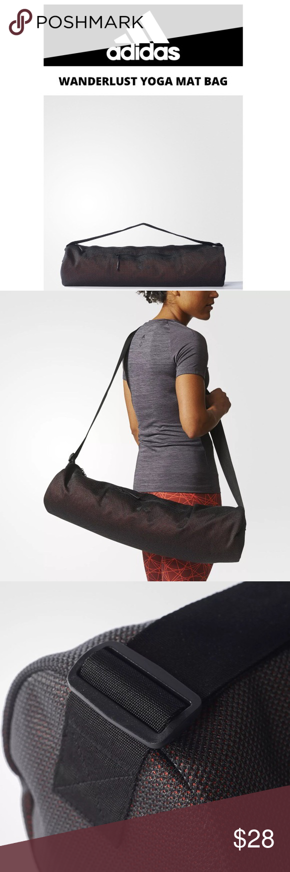 """e47248129503 Adidas Yoga Mat Bag Mesh Wanderlust Crossbody Blk • Adidas Wanderlust •  Athletic Mesh Bag • Mat not included • Will fit Various Yoga Exercise Mats  • 10""""x 5"""" ..."""