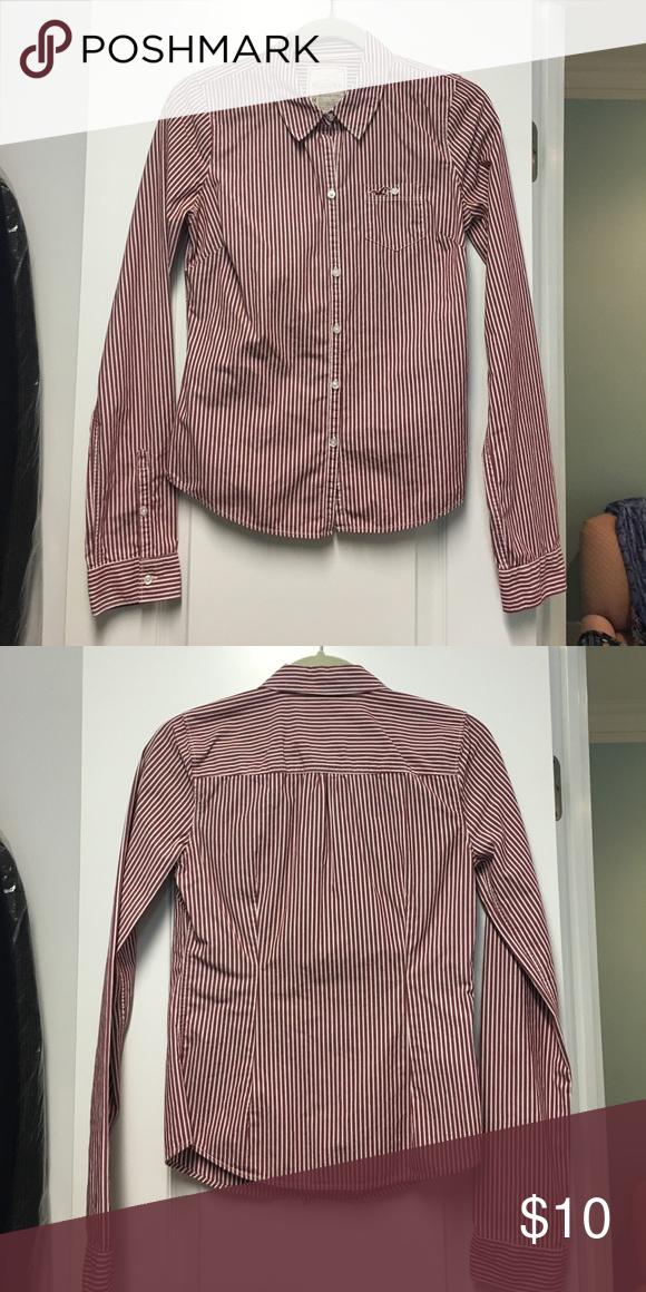 af4695cf14e Hollister Women s Button Up Shirt Hollister Burgundy and White Stripped Sz  M Women s Button Up Shirt Hollister Tops Button Down Shirts